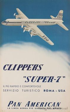Pan Am Clippers Super-7 vintage airline poster
