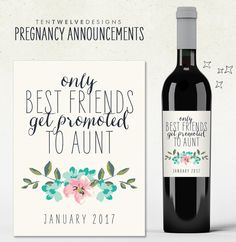 Custom Wine Labels - Pregnancy Announcement - only best friends get promoted to AUNT