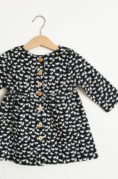 Girls Handmade Black & White Floral Dress | HelloTalaria on Etsy