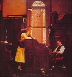 Norman Rockwell-Marriage License (1955) this is my mom ma's favorite picture. We have one in our family room