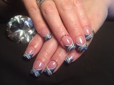 Electric blue acrylic nails with detail
