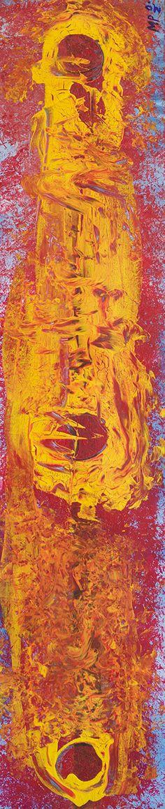 """Titolo: """"Tre Soli"""" Tecnica: colori acrilici su tavola Misura: 19,5 x 100 cm Artista: Mattia Paoli  link www.nojculture.com mail: mattiapaoli.design@gmail.com"""
