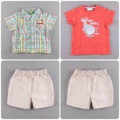Pantalón corto 5,95€   Camisa de cuadros de manga corta 4,75€   Camiseta manga corta 1,75€ http://www.quiquilo.es/38-12-meses