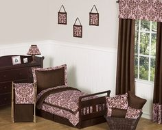"""Pink and Chocolate Nicole Girl Toddler Bedding - 5pc Set by Sweet Jojo Designs, """"I want to win a toddlers or baby bedding set from http://beyond-bedding.com"""" or tag @Beyond Bedding"""