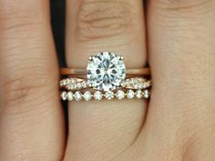 Skinny Flora 8mm,Twyla, & Petite Bubble Breathe 14kt FB Moissanite and Diamonds Wedding Set (Other metals and stone options available)
