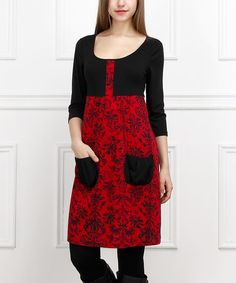 Look what I found on #zulily! Black & Red Color Block Scoop Neck Pocket Dress - Women #zulilyfinds