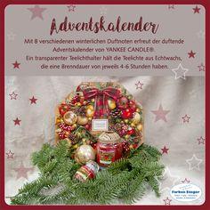 Der duftende Adventskalender von YANKEE CANDLE erfreut mit 8 verschiedenen winterlichen Duftnoten. Ein transparenter Teelichthalter hält die Teelichter aus Echtwachs, die eine Brenndauer von jeweils 4 bis 6 Stunden haben.  #styleyourhome #adventsduft #adventskalender #yankeecandle #esweihnachtetsehr #geschenktipp #shopping #josalzburg Yankee Candle, Christmas Bulbs, Gift Wrapping, Holiday Decor, Gifts, Home Decor, Incense, Seasons Of The Year, Advent Calenders