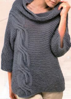 Patrones de Tejido Gratis - Pulóver con trenzas - comfy sweater in garter stitch w/ one cabled panel and loose cowl FREE knitting pattern in Spanish Crochet Designs, Knitting Designs, Knitting Patterns Free, Free Knitting, Free Pattern, Arm Knitting Tutorial, Tunic Pattern, Garter Stitch, Knit Fashion