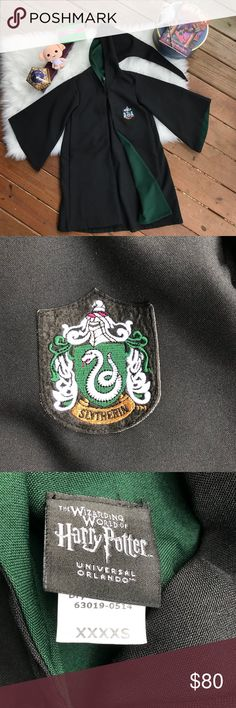 """Universal Studios Authentic Slytherin Kid's Robe Universal Studios Wizarding World Of Harry Potter Slytherin Robe. Child's size XXXXS. Measurements: Length - 33"""" Sleeves - 16"""". (Not sure if this helps, but my daughter is 9yrs old and is 4'3"""". This falls just below her knees.) Universal Studios Wizarding World Of Harry Potter Costumes"""