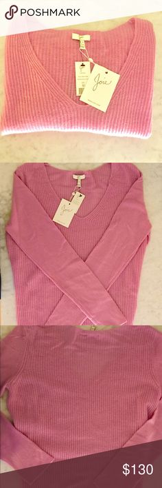 VINCE 100% Cashmere Ribbed V-neck Sweater NWT Perfect transitional piece. Lightweight cashmere in a beautiful purplish-pink. Photos don't do the color justice. Brand NEW with Tags! Super soft. Vince Tops