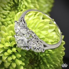 "Butterflies"" 3 Stone Engagement Ring is set in platinum and features a 2.54ct A CUT ABOVE® Diamond that is flanked by two 0.428ct A CUT ABOVE® Diamonds."