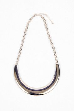 Crescent Necklace in Silver :: tobi
