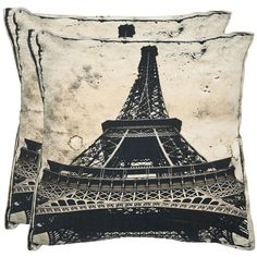 Safavieh 2-piece Paris Throw Pillow Set ($114) ❤ liked on Polyvore featuring home, bed & bath, bedding, pillow, brown oth, safavieh, eiffel tower bedding, patterned bedding, parisian bedding and paris bedding