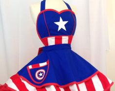 Retro Apron Captain America Apron Captain by WellLaDiDaAprons Bodice Top, Fitted Bodice, Pinup, Handmade Halloween Costumes, Captain America Costume, Princess Line, Retro Apron, Sewing Aprons, Kona Cotton