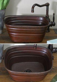 16 inch Copper Rectangle Bucket Style Vessel Sink w/handle by Hammermarc, http://www.amazon.com/dp/B00AAWV3K4/ref=cm_sw_r_pi_dp_haudrb1QEWZ5T