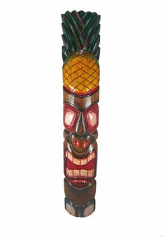 39 Inch Pacific Island Wooden Wall Mask Tiki Pineapple by Things2Die4. $24.99. Hand Carved. Hand Painted. 39 Inches Tall. This awesome looking tiki wall mask is hand-carved from Indonesian Albessia wood, and hand-painted to show off the detail. It features a carved and painted pineapple at the top and a big grimace on the face of the idol. Measuring 39 1/2 inches tall, 7 inches in wide, it looks great outdoors in patios and tiki bars, or indoors in dens and living rooms.  Th...