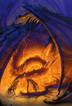 "art by John Howe. This is on the front of my copy of ""The Hobbit"" <3 I love it, it's my favourite picture of Smaug."