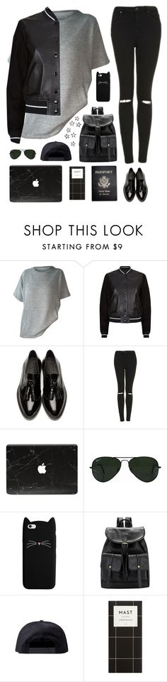 """Tomboy outfit"" by genesis129 ❤ liked on Polyvore featuring rag & bone, Burberry, Topshop, Ray-Ban, Black Scale and Passport"