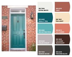 Instantly turn any picture into a palette with ColorSnap, created for you by Sherwin-Williams. Teal Front Doors, Front Door Paint Colors, Exterior Paint Colors For House, Painted Front Doors, Teal Door, House Shutter Colors, Turquoise Door, Orange Brick Houses, Brick House Colors