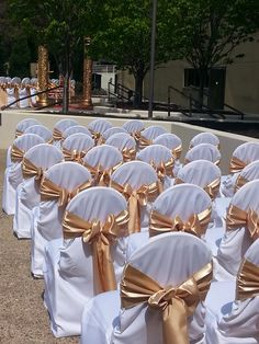 White Classic Chair Covers with Gold Satin Sashes