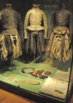 The Sture costumes. The clothing worn (l. to r.) by Count Svante Stensson Sture (1517-1567), Nils Svantesson Sture (1543-1567) and Erik Svantesson Sture (1546-1567) at time of their murder by King Erik and his soldiers. They were buried in Uppsala Cathedral. Svante Sture's widow preserved the clothing in a chest which is displayed next to the clothes. Svante Sture's and Erik Sture's doublets are velvet; Nils Sture's doublet is of chamois leather; and the britches are of taffeta