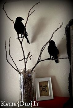 Halloween vase and raven decor. Add some spiderweb and it will look even better. I'll just spray paint some twigs from our trees. No need to buy them at a store.