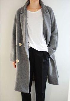 Grey coat, white t-shirt.