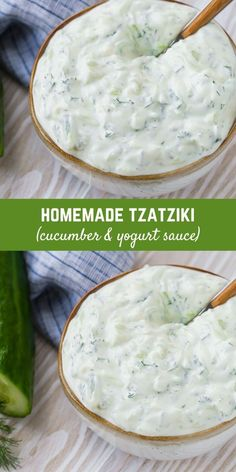 Creamy homemade tzatziki, an authentic Greek cucumber yogurt sauce, is easy to make and so delicious! Use tzatziki in a variety of ways, as a dip, dressing, or sandwich spread. Vegan Tzatziki, Tzatziki Recipes, Homemade Tzatziki, Dip Recipes, Sauce Recipes, Great Recipes, Healthy Recipes, Grilled Vegetables, Grilled Meat