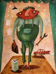MONTÉR, 80x60 cm, akryl na plátne / MECHANICIAN, acryl on canvas Bratislava, Naive, Creativity, Illustrations, Gallery, Pictures, Sculptures, Kunst, Roof Rack