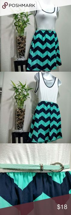 Chevron bottom belted dress by millibon CONDITION: Excellent Used! --- CONCERNS: minor wear on belt shown in 4th picture.  --- I will provide more pics, materials, measurements, etc. upon request! --- ***I welcome ALL OFFERS and do bundle discounts!*** Millibon  Dresses