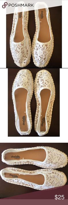 "NEW Boho white lace espadrilles shoes Brand new. I ordered these on eBay in a size 9 because it said to size up that they run small. They mailed me a size 10 then said ""oh we send a size up because they run small."" These are too big on me in a 10 and by their logic, should fit a size 9  I am normally an 8 to 8.5. I initiated a return and was too busy to send them back, so here they are now on poshmark ready for a new home  To be clear, these should fit a size 9 but are marked as a 10 or 40…"