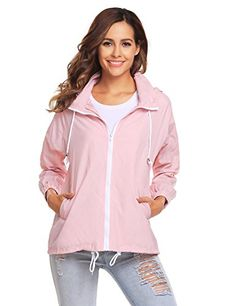 """Beyove Women Waterproof Lightweight Outdoor Raincoat Packable Hooded Rain Jacket - Brand: 100% NEWPackage Content: 1 x Women Lightweight Rain Jacket 3 Colors available:Blue,Black, PinkSize: There are 5 sizes (S/M/L/XL/XXL) available for the following listing. please allow 0.3 inch differs due to manual measurement, thanks US-S(6):Sleeve--26.77"""" Bust--46.06"""" Center Back Length--..."""
