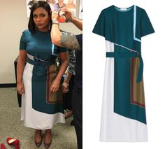 Mindy, in her colorblock dress, ready to talk about the new season of The Mindy Project on The View!
