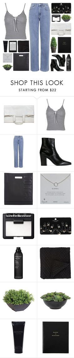"""""""i've seen the world"""" by acquiescence ❤ liked on Polyvore featuring Maison Margiela, Topshop, Yves Saint Laurent, 3.1 Phillip Lim, Dogeared, NARS Cosmetics, Living Proof, Morgan Collection, Ethan Allen and Lux-Art Silks"""