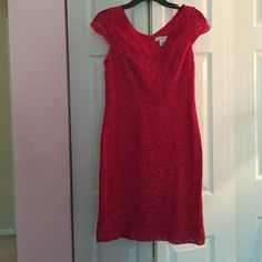 Red Lace Dress Red Lace Cap Sleeve Dress. Fitted, but not as tight as body con. Looks much nicer on than it does on the hanger, but unfortunately I have no pictures wearing it. Worn only once. Great, like new condition! Liz Claiborne Dresses Midi