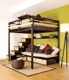 Love this super condensed space with loft bed. Great storage in stairs and under sofa. You could also add a trundle bed.