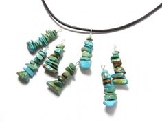 Turquoise cairn necklace - gems chips, brown leather, sterling silver | NightOwlJewelry - Jewelry on ArtFire