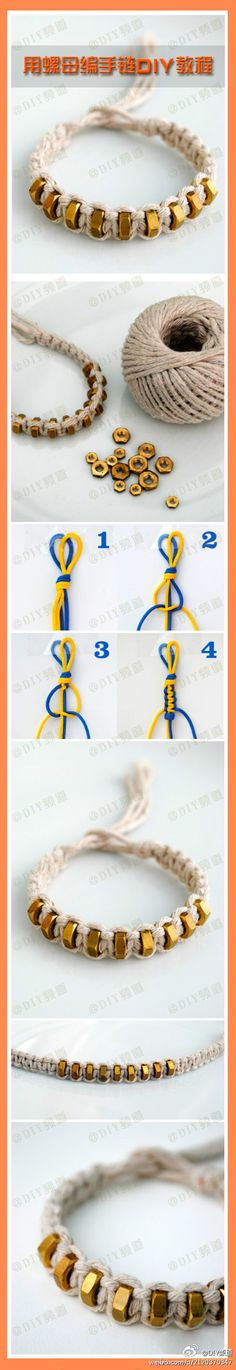 Image of a macrame bracelet tutorial using bolts as beads. The rope appears to be hemp. Link broken, no additional information here.