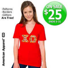 V-Neck Sorority Tee with Horizontal Twill Letters - SALE $25  We're at it again! #AmericanApparel #Sorority #Clothing #Sale