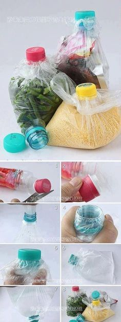 An innovative idea for keeping foods. Plastic bottles used... I imagine you'd have to be careful so the plastic bottle doesn't tear the bag, but this is ingenious all the same!