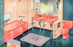 1950s bathroom w/pink and gray color.... love the anchors