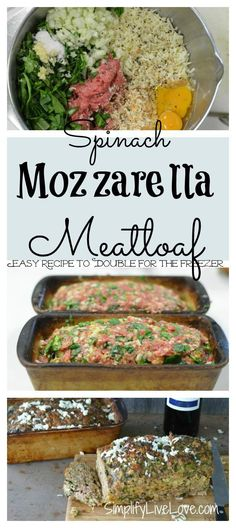 Spinach Mozzarella Meatloaf If youd like to start cooking for the freezer this a good recipe to try Its ealthy delicious and not difficult to make ad ALDIUSA Make Ahead Meals, Easy Meals, Freezer Meals Healthy, Healthy Recipes On A Budget, Freezer Cooking, Cooking School, Meat Recipes, Cooking Recipes, Healthy Meatloaf Recipes