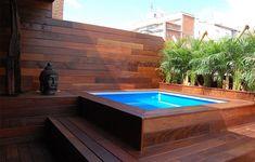 Image result for piscina de fibra com deck alto