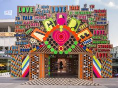 The temple of agape by Morag Myerscough and Luke Morgan. Festival of love, Southbank Centre, London