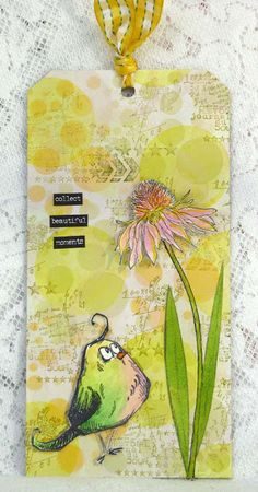 Hello Flower by Fliss Goodwin | That's Blogging Crafty! DT creation with Tim Holtz crazy bird and flower garden stamps