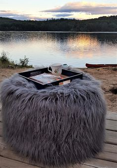 Loving the view here and brought my mini table (furry bean bag) What a good day to start with a cup of coffee and a book to read! #miniowls #beanbag #beanbagstorage #beanbagseat #beanbagchair #ToyStorage #furrybeanbag #fluffy #gray #cozy #accentchair #storagesolutions #storage #storageideas #storagebox #storageunit #storagespace #decor #homedecor #fall #falldecor #falldecorations #falldecoratingideas