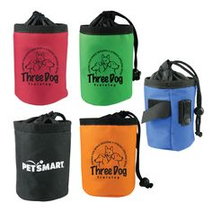 Promotional Drawstring Dog Training Treat Bags are terrific for rewarding dogs, while training & help promote your business at the same time. Made from polyester & custom printed with your company color logo. Belt clip for easy carrying, keeping your dog's training treats handy & fresh for a quick reward! Drawstring closure prevents treats from spilling out during training exercises. Swivel clip is designed to be easily attached to a belt loop, leash or even a back pack. 5 different colors.