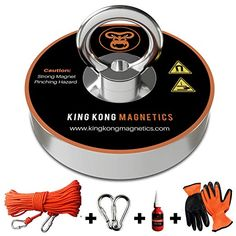 King Kong Magnetics Fishing Magnet Kit with Super Strong Magnet for Pulling 400 Lb, Gloves, Rope, Thread Locker and Carabiners Magnet Fishing, Fishing Kit, Fishing Tools, King Kong, Underwater Metal Detector, Finding Treasure, Super Strong Magnets, Magnetic Eyelashes, Rare Earth Magnets