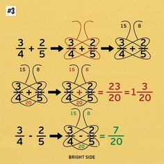 Nine simple math tricks you'll wish you had always known - Schmetterlingsmethode bei Add/Sub von Brüchen Nine simple math tricks you'll wish you had always - Whole Brain Teaching, Teaching Math, Math Strategies, Math Resources, Math For Kids, Fun Math, Algebra, Math Formulas, Simple Math