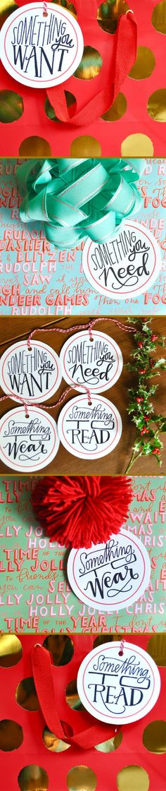 Celebrate a fun holiday tradition in style with these gorgeous gift tags! Something you want, something you need, something to wear and something to read. These gift tags are great for a fun and simple holiday gift-giving tradition! Use the baker\'s twine to tie to a package, or remove to tape onto a gift. Recipient\'s name can be written on the back. #GiftTags #SomethingYouWant #SomethingYouNeed #affiliate #SomethingToWear #SomethingToRead #ChristmasGifts